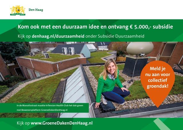 Platform GroeneDakenDenHaag is deelnemer van 'Duurzame Haagse wijken' van de gemeente Den Haag om zo nog meer mensen te bereiken collectief hun daken te vergroenen